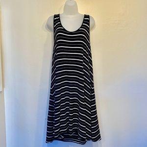 Lou Grey Black and White Striped Tank Midi Dress